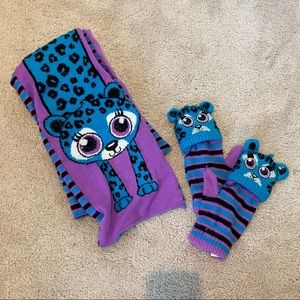 NWOT Justice Blue Leopard Purple Scarf and Gloves